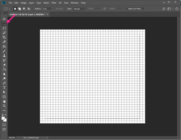 رسم کادر مربع