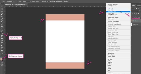 اعمال رنگ و کپی لایهی جدید جهت طراحی سربرگ در فتوشاپ