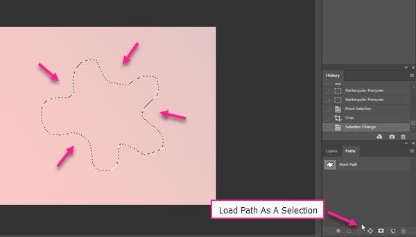 تبدیل مسیر به ناحیه انتخابی توسط گزینه Load Path As A Selection